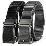 Mens Belts Casual 2 Pack Golf Belt, Ratchet Belt Nylon, Fully Adjustable Web Belt Trim to Fit (Black and Grey Golf Belt)