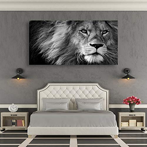 Modern Giclee Canvas Prints Stretched Artwork Black and White Lion Pictures to Photo Paintings on Canvas Wall Art for Home Office Decorations Wall Décor XXLarge 30x60inch