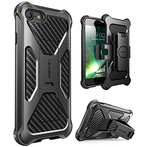 i-Blason Case for iPhone SE 2020 / iPhone 7/8, Transformer Kickstand iPhone 8 2017 Release Heavy Duty Dual Layer Combo Holster Cover Case with Locking Belt Swivel Clip (Black)