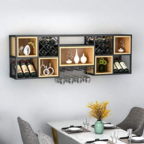 Wall Mounted Shelf Racks Steampunk Holder Shelves Goods Racks Wrought Iron Solid Wood Home Wine Cabinet Wall Hanging Wine Rack Living Room Display Storage Wall Grape Wine Rack Hanging Wine Glass Rack steampunk buy now online