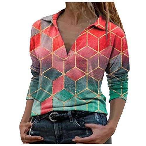 YANFANG Blusa Tops para Mujer Camiseta Hoodies Talla Grande de Manga Larga con estanmpado Suelta Tie-Dye Impreso Bordado Cuello para Invierno Casual (Red01252, S)