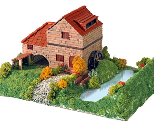 Keranova- Kit de cerámica Casa Rural con Molino, Color marr