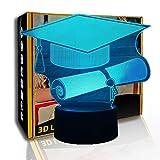 KangYD 3D Luz nocturna Doctorial Hat, lámpara de ilusión LED, lámpara de mesa para niños, F- Base de audio Bluetooth (5 colores), Alta calidad, Artesanía