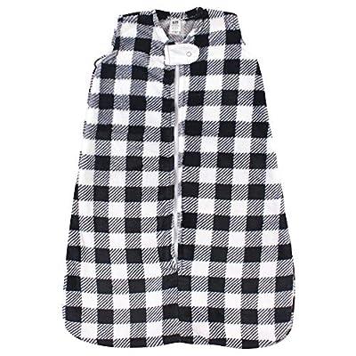 Hudson Baby Unisex Baby Long-Sleeve Plush Sleeping Bag, Sack, Blanket, Black Plaid, 18-24 Months