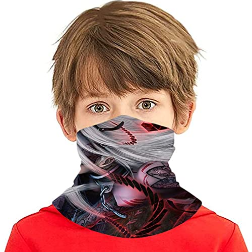 LAOLUCKY Deadman Wonderland Shiro Máscara de cuello Polaina con 6 filtros de protección UV, bufanda de seda de hielo, bandanas a prueba de viento transpirables para deportes al aire libre uso diario