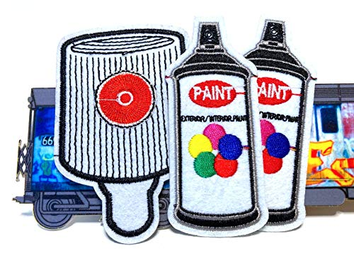 Mad Can Studios Spray Paint cans n Spray Paint caps Artist Inspired 3pc Iron on Clothing Patches Jacket Jeans Backpack Patches