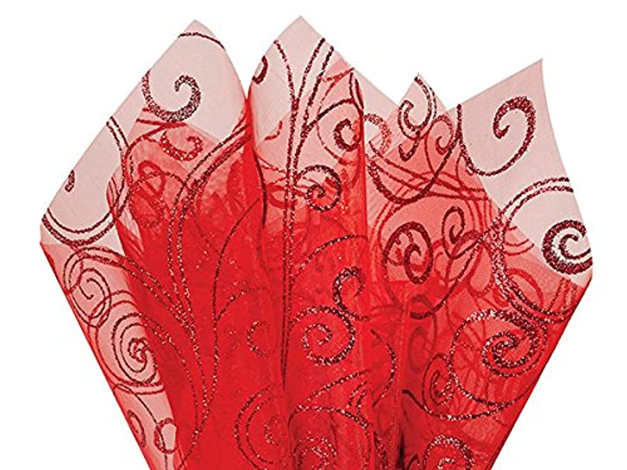 Glitter Swirl on Red Organza Sheets 20 x 28 with Center X Cut 10 Sheets Use for Flowers & Bouquet A1 bakery supplies