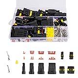 IWILCS 325pcs Conectores Sellado Impermeable, Impermeable Cable Eléctrico Conector Kit, Conector Eléctrico a Prueba de Agua para Coche la Motocicleta, 1/2/3/4 Pin