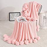 Fomoom Pom Pom Throw Blanket Knit Throw Blankets with Pompom Fringe, Soft Plush Crochet Blanket, Decorative Cotton Pom Blanket for Couch Sofa (Cotton-Light Pink, 51'x63')