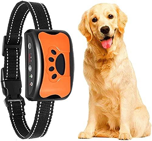 Erziehungshalsband Hunde Halsbänder, Nylon Hundehalsbänder Anti Bellen Halsband Mit Vibration, Sound Automatisches Trainingsgerät Für Kleine, Mittelgroße Und Große Hunde Stoppt Bellen (Orange)
