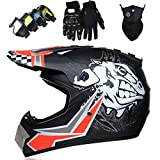 Casco Motocross Niño, DTC & ECE Certificación Casco Downhill moto para Adultos Cascos Cross Dirt Bike Set para Bikes BMX Bicicleta MTB ATV Offroad DH Casco, Sprint, Negro Rojo