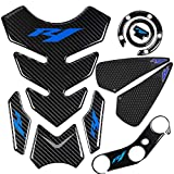 REVSOSTAR 5D Real Carbon, Motorcycle Gas Tank Protector, Tank Pad Sticker, Tank Cap, Fuel Cap Decal, Triple Tree Front End Upper, Side Traction Pad, Anti Slip sticker for YZR1 04-06(Blue)