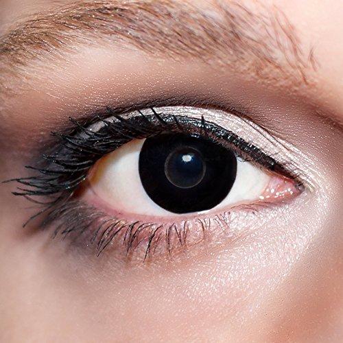 KwikSibs farbige Kontaktlinsen, schwarz, Hexe, weich, inklusive Behälter, K503, BC 8.6 mm / DIA 14.0 / -4,00 Dioptrien, 1er Pack (1 x 2 Stück)