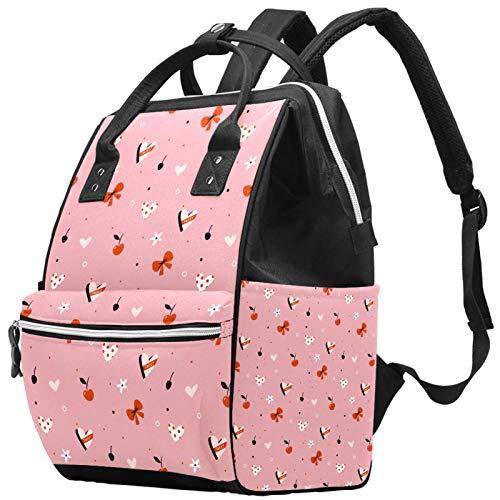 Mochila para portátil impermeable para pañales, bolsa de enfermería, bolsa de viaje, bolsa multifunción para colegio, negocios, bolsa para médico, hortensias, flores, cerezas y Ribborn rojo