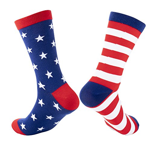 American Flag Crew Socks for Memorial Day and 4th of July, Election Day (Adult, 2 Pair)