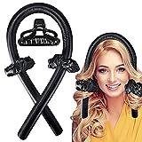 Varilla para rizar sin Calor, Heatless Curler,Silk Hair Curler,Rizadores de Pelo de Onda de cinta,Diadema de vara de curling sin calor (negro)