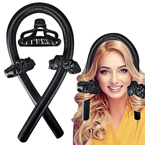 Varilla para rizar sin Calor, Rizadora de Pelo de Onda de cinta,Heatless Curler,Silk Hair Curler,Diadema de vara de curling sin calor