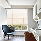 TJ Global Bamboo Roll Up Window Blind Sun Shade, Light Filtering Roller Shades with Valance (White, 48' x 64')