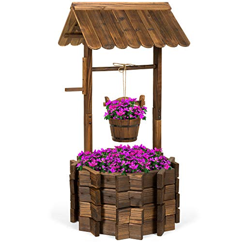 Best Choice Products Rustic Wooden Wishing Well Planter Outdoor Home Decor for Patio, Garden, Yard w/Hanging Bucket