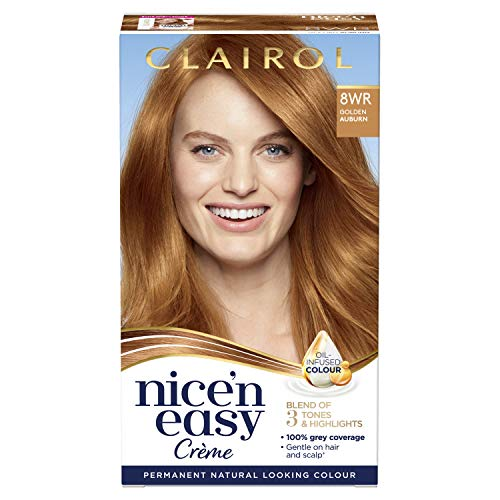 Clairol Nice' n Easy Crème, Natural Looking Oil Infused Permanent Hair Dye, 8WR Golden Auburn 177 ml