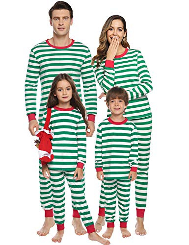 Sykooria Christmas Family Pijama Set Navidad Algodón a Juego Ropa de Dormir Raya Top de Manga Larga y Pantalones para Mujeres Hombres Niños y niñas
