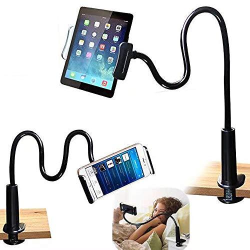 Flexible teléfono Soporte Soporte para Tablet, Soporte para teléfono móvil con Cuello de Cisne Universal para Smartphone, Tablet, Cuello de Cisne, Brazo Largo Flexible-80 cm-Negro