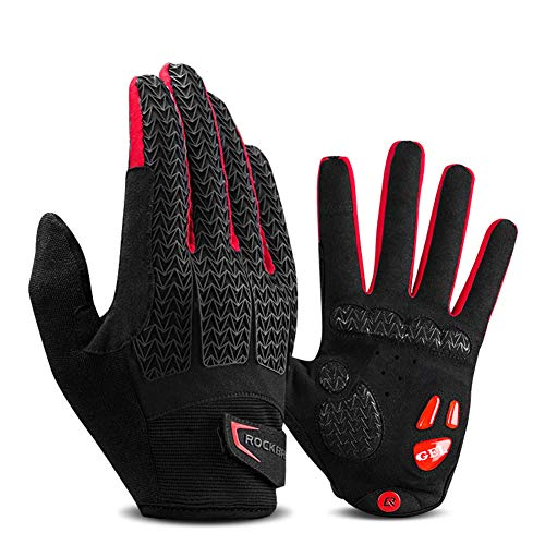 PASLWSSY Cycling Gloves Full Finger Mountain Bike Gloves, Gel Padded Touchscreen MTB Gloves Anti-Slip Shock-Absorbing, Outdoor Sports Bicycle Gloves for Men & Women,Red