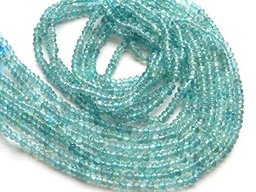 Mughal Gems & Jewellery 3–4mm Clara y facetada Rondelle Naturales apatita Azul Piedras Preciosas Perlas 13Strang 2líneas