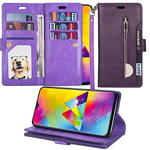 L-FADNUT Case for Samsung Galaxy A20/A30 Zipper Wallet Case Luxury PU Leather Flip Case Dual Folio Card Slot Soft TPU Inner Wrist Strap Magnetic Stand Case Cover for Samsung Galaxy A20/A30 Purple