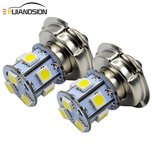 Ruiandsion 2pcs 10-80 V P26S LED Lampadina Super Bright 5050 9SMD Chipset 6000K White LED Lampadina per moto Faro