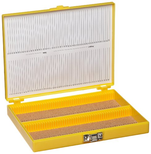 Heathrow Scientific HD15994D Yellow Cork Lined 100 Place Microscope Slide Box, 8.25' Length x 7' Width x 1.3' Height