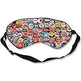 Blindfold,World Beer Bottle Caps Set Funny Printing Eye Blindfolds for Home Flight Shift Work
