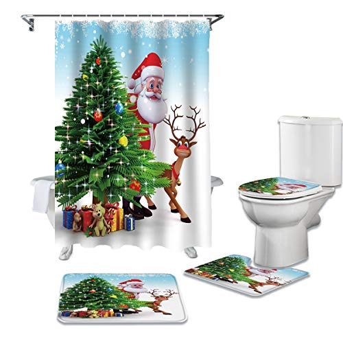 CHARMHOME 4 Piece Shower Curtain Sets with Non-Slip Rug, Toilet Lid Cover, Bath Mat and 12 Hooks,Santa Claus,Christmas Trees and Present. Waterproof Bathroom Curtains