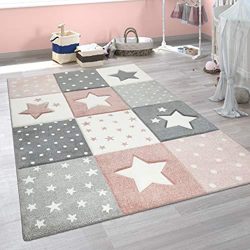 Paco Home Alfombra Infantil Moderna Pastel Cuadros Estrellas Lunares Diseño En Rosa Gris, tamaño:80x150 cm