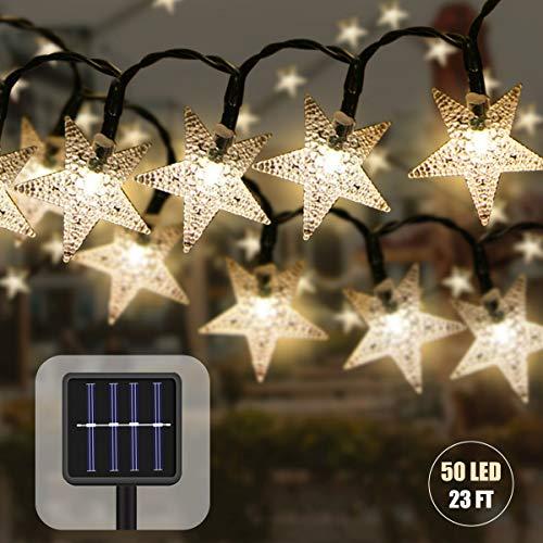 50LED Solar Lichterkette Aussen mit Lichtsensor,23ft Wasserdicht Lichterkette Sterne Kristallbälle Weihnachtsbeleuchtung Dekoration für Garten Bäume Partys Innen und Außen (Gelb)