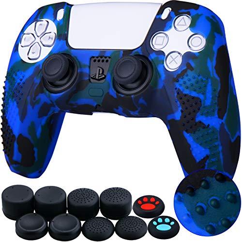 YoRHa Tachonado Impreso silicona caso piel Fundas protectores cubierta para Sony PS5 Dualsense Mando x 1 (Azul) Con PRO los puños pulgar thumb gripsx 8