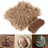 2Pcs Accesorios para Fotos de Bebés Recién Nacidos Envolturas Y Tapete de Fotografía Manta de Fotos de Bricolaje Swaddle para Bebés Niños Niñas