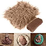 Yudanny Baby-Foto-Requisiten, flauschige Decke + Ripple Wrap Set Neugeborene Fotografie Wickelmatte – Kaffee
