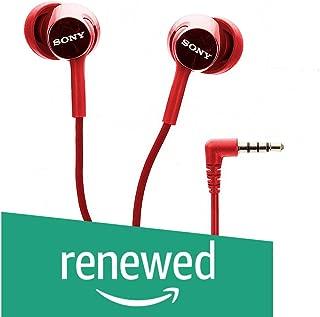 (Renewed) Sony MDR-EX155AP in-Ear Headphones with Mic (Red)