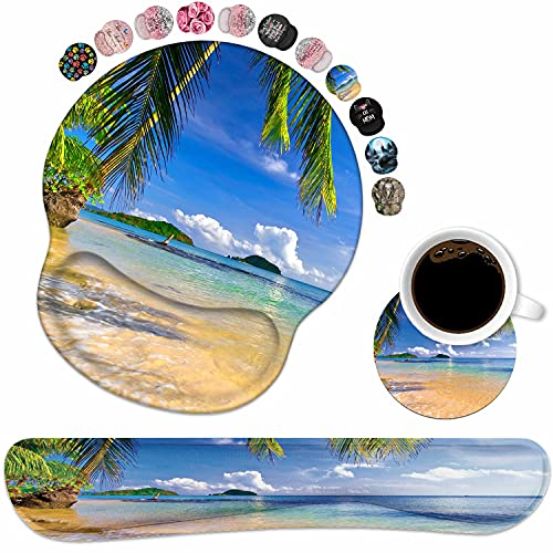 Keyboard Wrist Rest and Mouse Pad Wrist Support Set with Coasters, Non-Slip PU Base Ergonomic Gaming Mousepad for Home Office Working Studying Easy Typing & Pain Relief, Shore Palms Tropical Beach