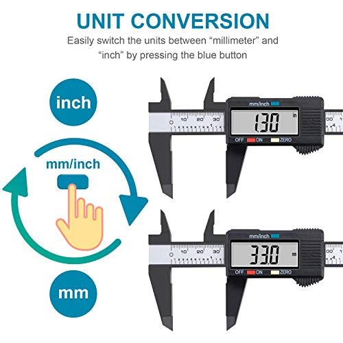 Digital Caliper, 6 inch Micrometer with Large LCD Screen, Inch and Millimeter Conversion Vernier, Measuring Tool for Household DIY