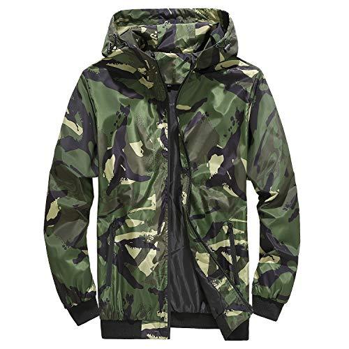Mens 3D Printed Camo Waterproof Jackets Hoodies Comfy Full Zip Windproof Hoody Outdoor Hooded Coats for Fishing Camping Hiking Green XL