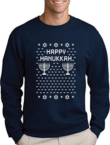 Happy Hanukkah Ugly Sweater Chanukkah Geschenke Sweatshirt Medium Marineblau