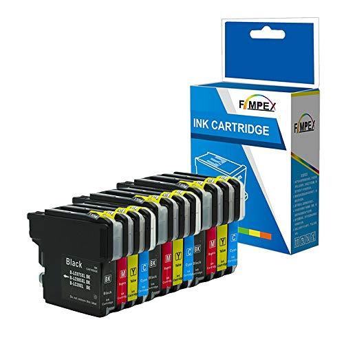 Fimpex Compatible Tinta Cartucho reemplazo para Brother DCP-145C DCP-160 Series DCP-163C DCP-165C DCP-167C DCP-190 Series DCP-195C DCP-197C DCP-365CN DCP-370 LC980/985/1100 (B/C/M/Y, 12-Pack)