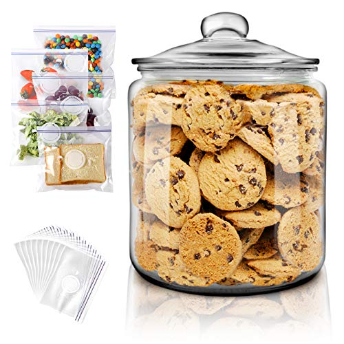 Masthome Glas Keksdose mit Deckel,3900ml Glasbehälter mit Dichtungsring Luftdicht Bonbonglas Groß Aufbewahrungsglas für Cookies Bonbon und Mehl Hergeben 15 Frischhaltebeutel