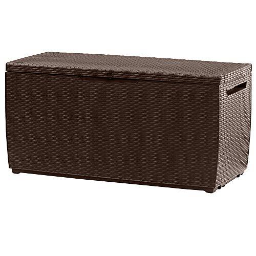 Deuba Keter Auflagenbox Capri 305l 240kg belastbar Rollen Griffe Gartentruhe Truhe Gartenbox Kissenbox Garten Braun