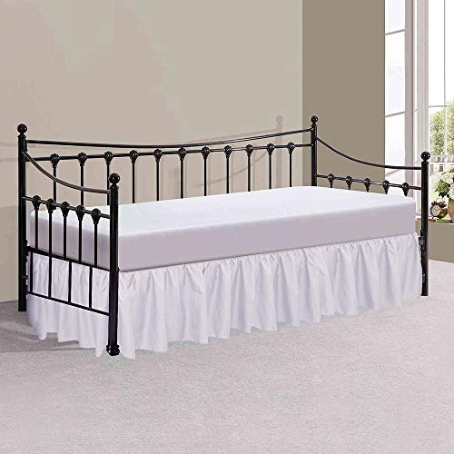 Victoria Bedding Plain Dyed Ruffle Valance Sheets Single Size With 33 cm Drop Frilled Bed Base Valance Sheet In White