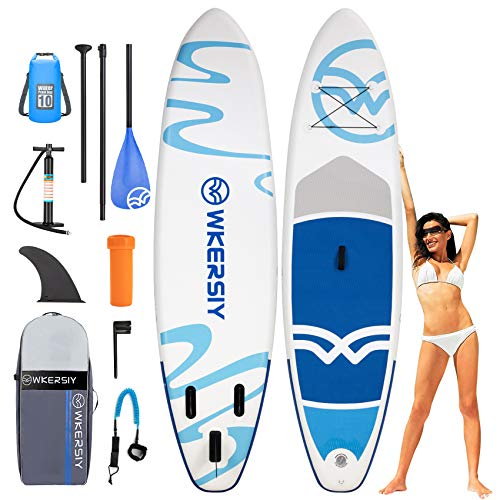 """wkersiy Inflatable Stand Up Paddle Board, 10'6""""x33""""x6"""" SUP with Premium Accessories for Paddling Yoga Surfing Surf, with Paddle, Waterproof Bag, Hand Pump, Repairing Kit, Leash, Tracking Fin, Backpack"""