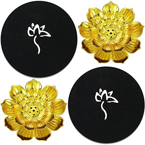 Patelai 2PiecesZinc Alloy Lotus Incense Holder Detachable Cone Incense Stick Holder Lotus Stick Incense Burner with2PiecesPadfor Room Home Car Decor