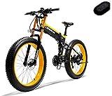"""EVELO LANKELEISI 750PLUS 48v 14.5ah 1000W bicicleta eléctrica completa 26 """"4.0 neumáticos grandes bicicleta eléctrica plegable dispositivo antirrobo carretilla elevadora (enviado en Polonia) amarillo"""